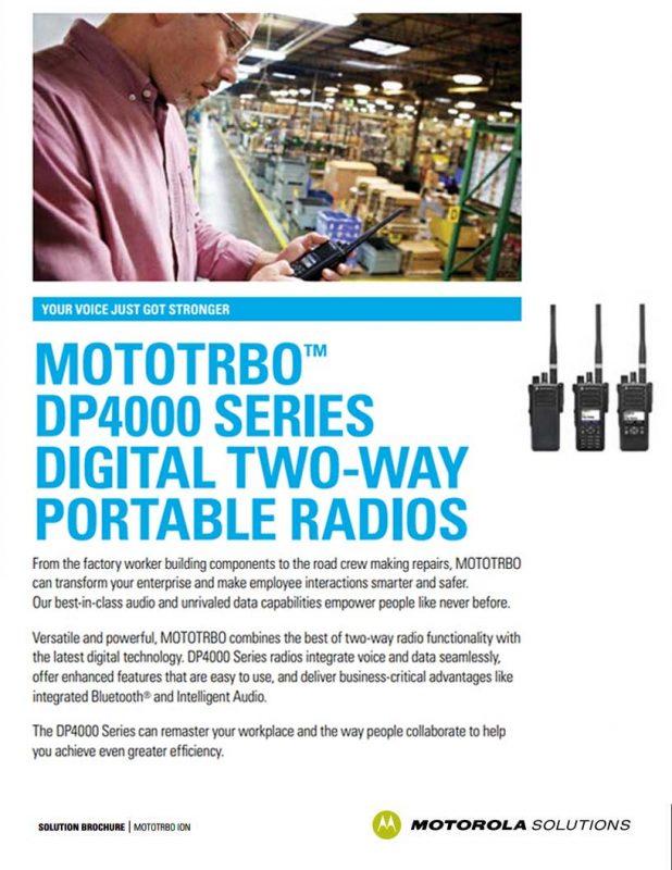 Mototrbo DP4600e DP4601e Series Two Way Radios Brochure